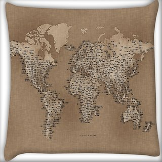 Snoogg Map Of Cloth Digitally Printed Cushion Cover Pillow 16 x 16 Inch