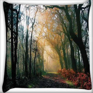 Snoogg Abstract Dense Forest Digitally Printed Cushion Cover Pillow 16 x 16 Inch