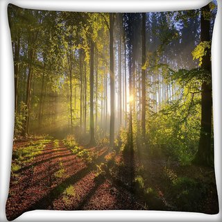 Snoogg Patternd Dense Forest Digitally Printed Cushion Cover Pillow 16 x 16 Inch