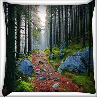 Snoogg White Stone Digitally Printed Cushion Cover Pillow 16 x 16 Inch