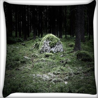 Snoogg Green Grass In Stone Digitally Printed Cushion Cover Pillow 16 x 16 Inch