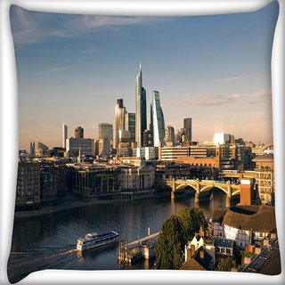 Snoogg Lake Side Buildings Digitally Printed Cushion Cover Pillow 16 x 16 Inch