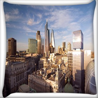 Snoogg Big Buildings Digitally Printed Cushion Cover Pillow 16 x 16 Inch