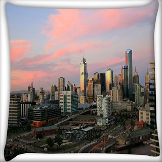 Snoogg Roads In City Digitally Printed Cushion Cover Pillow 16 x 16 Inch