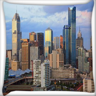 Snoogg Buildings Top Digitally Printed Cushion Cover Pillow 16 x 16 Inch