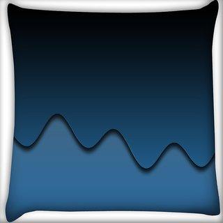 Snoogg Dark Blue Digitally Printed Cushion Cover Pillow 16 x 16 Inch