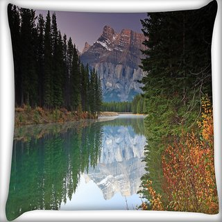 Snoogg Reflecting Water Digitally Printed Cushion Cover Pillow 16 x 16 Inch