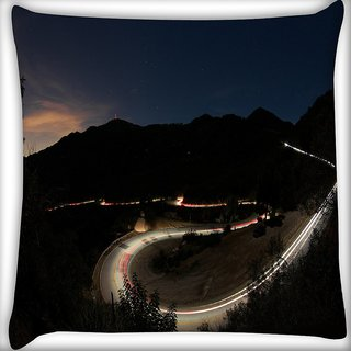 Snoogg Roads At Night Digitally Printed Cushion Cover Pillow 16 x 16 Inch
