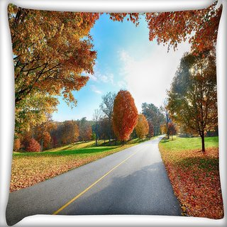 Snoogg Clean Roads Digitally Printed Cushion Cover Pillow 16 x 16 Inch