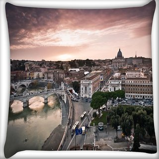 Snoogg City Roads Digitally Printed Cushion Cover Pillow 16 x 16 Inch