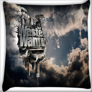 Snoogg Waste Wants Digitally Printed Cushion Cover Pillow 16 x 16 Inch