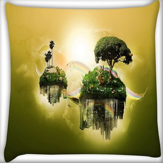 Snoogg Floating Earth Digitally Printed Cushion Cover Pillow 16 x 16 Inch