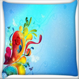 Snoogg Colorful Paint Digitally Printed Cushion Cover Pillow 16 x 16 Inch