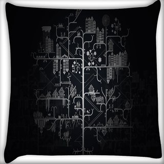 Snoogg Amazed City Digitally Printed Cushion Cover Pillow 16 x 16 Inch