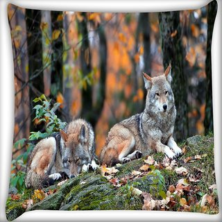 Snoogg Snow Dogs Digitally Printed Cushion Cover Pillow 16 x 16 Inch