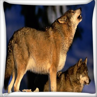 Snoogg Dog Roaring Digitally Printed Cushion Cover Pillow 16 x 16 Inch
