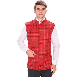 Routeen Red Casual Partywear Tweed Waistcoat Jackets for Men