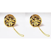 ManeKo Golden Alloy Wheel Car Hanging Air Freshener Gel Perfume For Car, Home, Office - Pack Of 2
