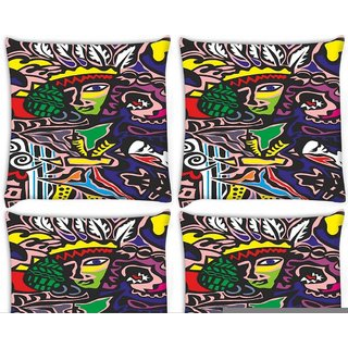 Snoogg Pack Of 4 Junglee Girl Digitally Printed Cushion Cover Pillow 8 X 8 Inch
