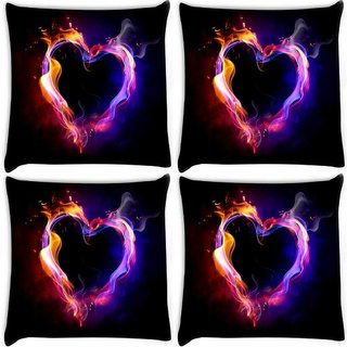 Snoogg Pack Of 4 Abstract Heart Digitally Printed Cushion Cover Pillow 8 X 8 Inch