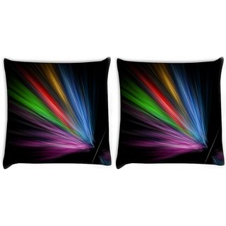 Snoogg Pack Of 2 Multicolor Rays Digitally Printed Cushion Cover Pillow 8 X 8 Inch