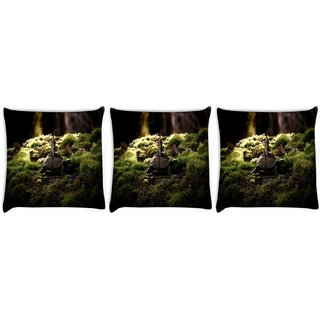 Snoogg Pack Of 3 Half Moon Digitally Printed Cushion Cover Pillow 10 X 10 Inch