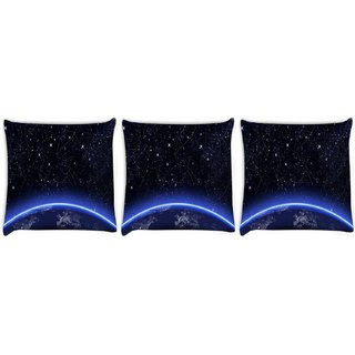 Snoogg Pack Of 3 Broadway Digitally Printed Cushion Cover Pillow 10 X 10 Inch