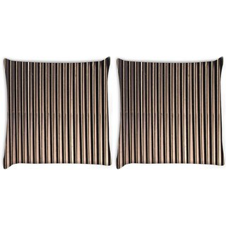 Snoogg Pack Of 2 Black Strips Digitally Printed Cushion Cover Pillow 8 X 8 Inch