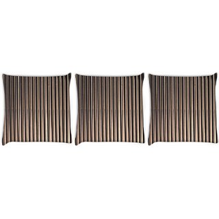 Snoogg Pack Of 3 Black Strips Digitally Printed Cushion Cover Pillow 8 X 8 Inch