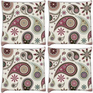 Snoogg Pack Of 4 Dark Green Pattern Digitally Printed Cushion Cover Pillow 8 X 8 Inch
