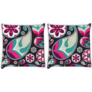 Snoogg Pack Of 2 Grey Pattern Red Digitally Printed Cushion Cover Pillow 8 X 8 Inch