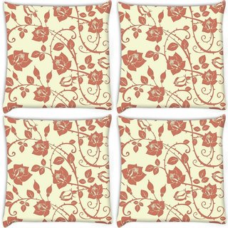 Snoogg Pack Of 4 Cream Roses And Leaves Digitally Printed Cushion Cover Pillow 8 X 8 Inch