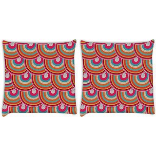 Snoogg Pack Of 2 Mixed Colors Pattern Digitally Printed Cushion Cover Pillow 8 X 8 Inch