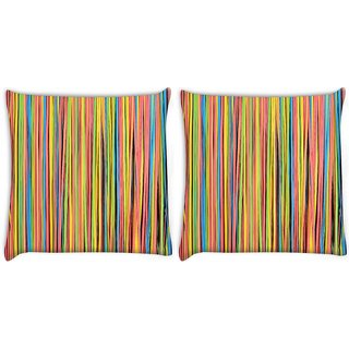 Snoogg Pack Of 2 Colorful Strips Digitally Printed Cushion Cover Pillow 8 X 8 Inch