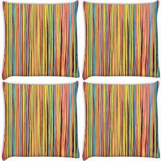 Snoogg Pack Of 4 Colorful Strips Digitally Printed Cushion Cover Pillow 8 X 8 Inch