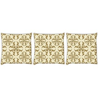 Snoogg Pack Of 3 Yellow Abstract Pattern Digitally Printed Cushion Cover Pillow 8 X 8 Inch