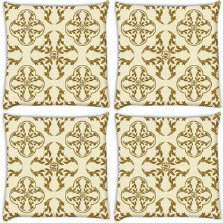 Snoogg Pack Of 4 Yellow Abstract Pattern Digitally Printed Cushion Cover Pillow 8 X 8 Inch