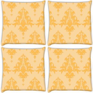 Snoogg Pack Of 4 Cream Abstract Pattern Digitally Printed Cushion Cover Pillow 8 X 8 Inch