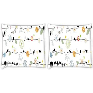 Snoogg Pack Of 2 Multiple Crows Digitally Printed Cushion Cover Pillow 8 X 8 Inch