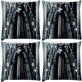 Snoogg Pack Of 4 Nite Road View Digitally Printed Cushion Cover Pillow 8 X 8 Inch