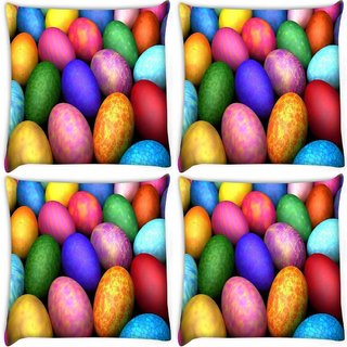 Snoogg Pack Of 4 Colorful Eggs Digitally Printed Cushion Cover Pillow 8 X 8 Inch