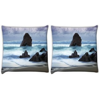 Snoogg Pack Of 2 Beach View Digitally Printed Cushion Cover Pillow 8 X 8 Inch