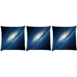 Snoogg Pack Of 3 Blue Galaxy Digitally Printed Cushion Cover Pillow 8 X 8 Inch