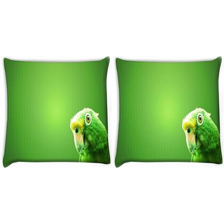 Snoogg Pack Of 2 Green Parrot Digitally Printed Cushion Cover Pillow 8 X 8 Inch