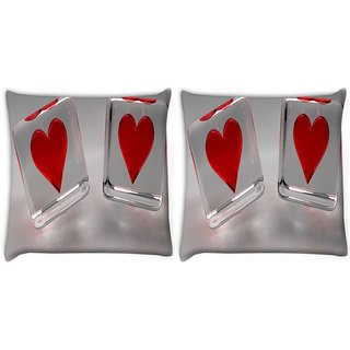 Snoogg Pack Of 2 Two Crystal Hearts Digitally Printed Cushion Cover Pillow 8 X 8 Inch