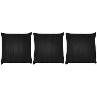 Snoogg Pack Of 3 Black Wood Digitally Printed Cushion Cover Pillow 8 X 8 Inch
