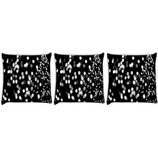 Snoogg Pack Of 3 Black And White Spots Digitally Printed Cushion Cover Pillow 8 X 8 Inch