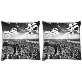 Snoogg Pack Of 2 Black And White New York City Digitally Printed Cushion Cover Pillow 8 X 8 Inch