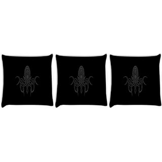 Snoogg Pack Of 3 Cthulhu Wallpaper Digitally Printed Cushion Cover Pillow 8 X 8 Inch