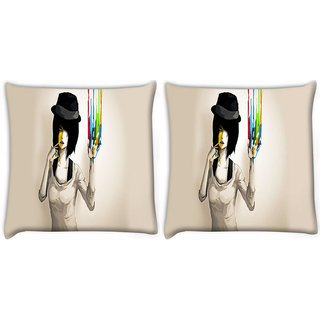 Snoogg Pack Of 2 Painted Girls Digitally Printed Cushion Cover Pillow 8 X 8 Inch